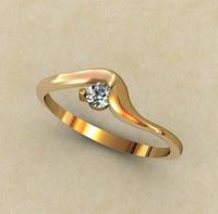 Золотое женское колечко 585* пробы с плавными формами