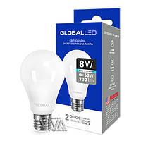 LED лампа GLOBAL A60 8W E27 4100K белый свет 220V (1-GBL-162)