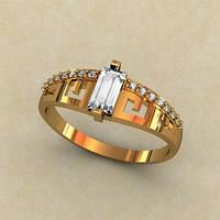 Женское золотое кольцо 585* пробы с багетом