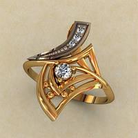 Оригинальное золотое кольцо 585* пробы с Фианитами