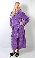 Женский махровый длинный халат с капюшоном - 136-1