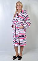 Женский махровый халат по коленку с капюшоном, в полоску - 136-2