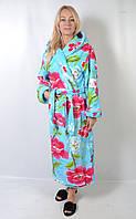 Женский махровый длинный принтованный халат с капюшоном - 136-9