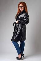 Женский стильный плащ экокожа с поясом БАТАЛ