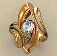 Изящное женское золотое колечко 585* пробы с плавными формами