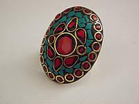 Кольцо Этник .Голубая бирюза,красный коралл,серия Тибет.Мозаика, 40х30 мм.Free size.Индия-Эксклюзив