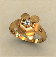 Очаровательное женское золотое колечко 585* пробы в форме цветочка