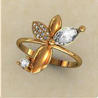 Красивое женское золотое колечко 585* пробы в форме цветочка с Фианитами