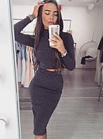 Модный женский трикотажный костюм (юбка, длина ниже колен, кофта, воротник гольф, трикотаж резинка)