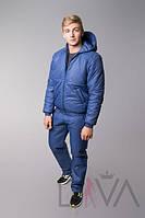 Мужской спортивный костюм синий с капюшоном Батал и супер БАТАЛ
