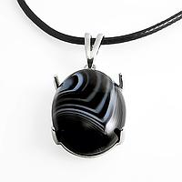 Оникс, серебро 184КЛО, кулон.