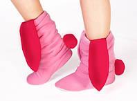 Тапочки Зайчики розовые с красными ушами