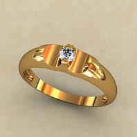 Интересное гладкое золотое колечко 585* пробы с кубическим цирконием