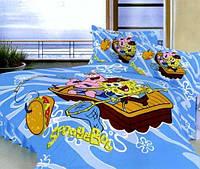 Детское постельное белье Губка Боб Spоngе Bob Спанч Боб, полуторный, голубой, сатин, 100% хлопок ТМ Вилинова