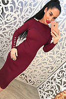 Женское модное вязанное платье с декором на плечах (3 цвета)