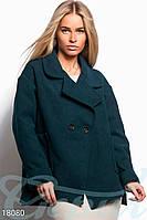 Короткое кашемировое пальто. Цвет изумрудный.