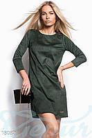 Красивое замшевое платье. Цвет темно-зеленый.