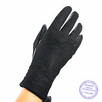 Женские кашемировые перчатки с кожаной ладошкой с плюшевой подкладкой - №F4-9