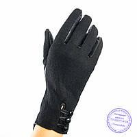 Женские кашемировые перчатки с кожаной ладошкой с плюшевой подкладкой - №F4-10