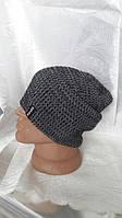 Вязаная теплая мужская шапка серого цвета
