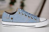 Мужские кеды Converse Jeans Vintage Chuck Taylor All Star (конверс) голубые
