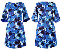 Платье женское рукав 3/4 цветы потайная молния полубатал