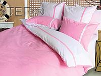 Евро комплект постельного белья Дуэт розовый