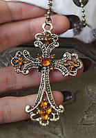 Подвеска крест, античная бронза в винтажном стиле