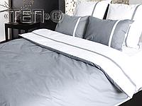 Евро комплект постельного белья Дуэт серый
