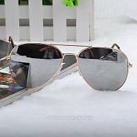 Очки капли Aviator солнцезащитные зеркало Silver G