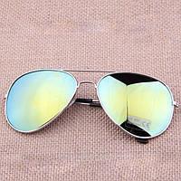Очки капли Aviator солнцезащитные зеркало Green S