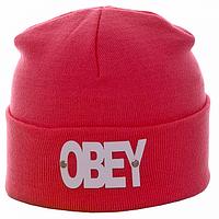Шапка  двойная с логотипом OBEY цвет розовый