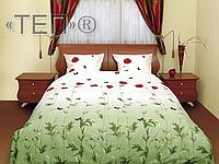 Семейный комплект постельного белья Маки зеленые с бабочками