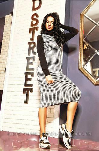 Платье женское ниже колен гусиная лапка