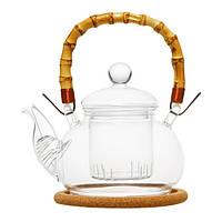 """Чайник стеклянный """"Мак"""" с бамбуковой ручкой,заварочной колбой 550мл"""