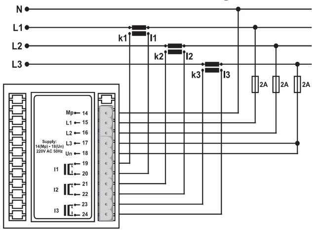 Схема подключения мультиметра:
