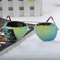 Очки капли Aviator солнцезащитные зеркало Green G