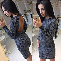 Платье из пайеток с открытой спиной и бантом на подкладке мини 3 цвета SMol755