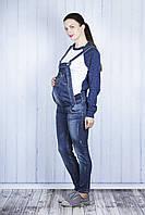 Стильный джинсовый комбинезон для беременных, синий джинс