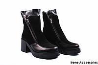Ботинки женские нубук Donna Ricco (ботильоны, стильные, каблук, нат. мех, антискользящая подошва, Турция)