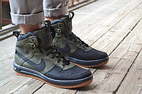 Кроссовки мужские высокие осенние Nike Lunar Force 1 Duckboot black-green (реплика)
