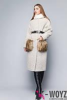 Зимнее пальто крем-черный PL-8697