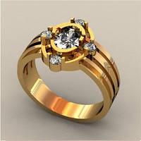 Необычное мужское золотое кольцо 585* пробы с кубическим цирконием