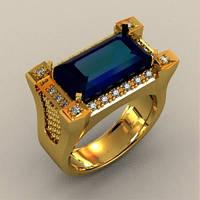Массивный мужской золотой перстень 585* пробы с крупным камнем