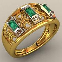 Гламурное золотое мужское кольцо 585* пробы с кубическим цирконием
