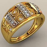Ажурное золотое мужское кольцо 585* пробы с кубическим цирконием