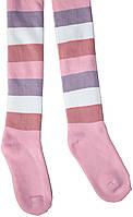 Колготы махровые розово-сиреневые в полоску, для девочки, рост 116-122 см, Дюна