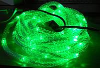 Шнур диодный гофрированный 8 метров , зеленый, для уличного освещения