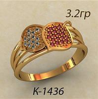 Интересное золотое колечко 585* пробы с различными Фианитами