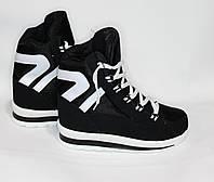 Женские зимние дутики на шнурках черные 10